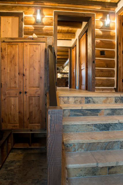 Log cabin remodel addition traditional entry other for Building an entryway addition
