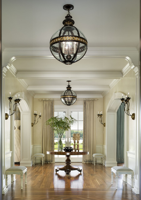 Elegant Entryway Lighting : Luxurious and elegant transitional waterfront estate