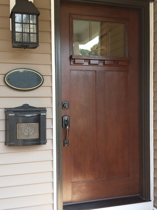 ProVia - Doors - Luxury Craftsman style door in truffle stain is inviting and secure.