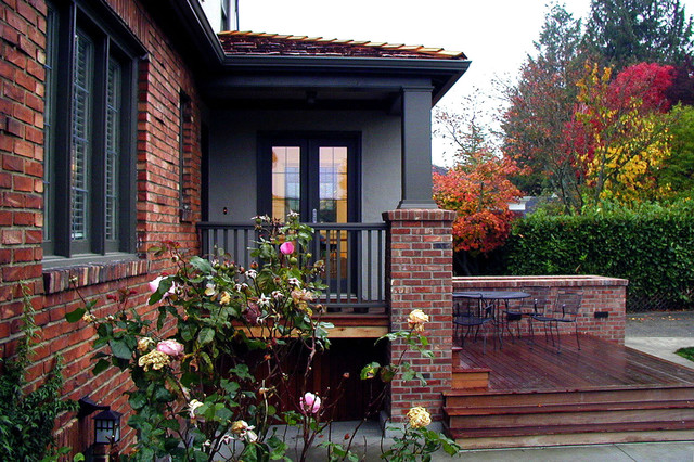 traditional entryway idea in seattle - Exterior House Colors With Red Brick