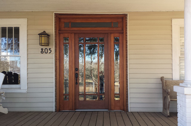 Mahogany Wood Door With Sidelites And Transom Traditional Entry Other M