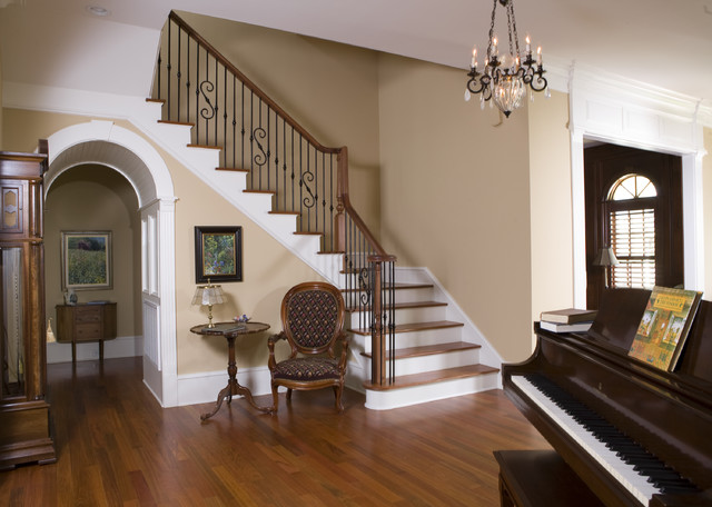 Manning residence foyer and stairway for Foyer staircase ideas