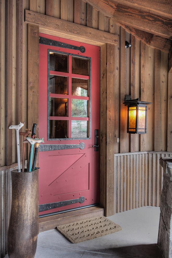 Elegant single front door photo in Phoenix with a red front door