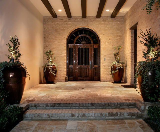 mediterranean entry by AMS Landscape Design Studios, Inc.