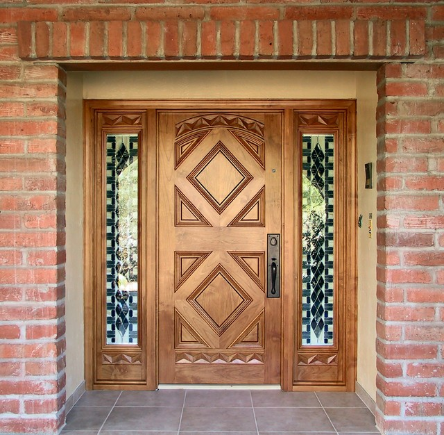 Mediterranean Style Entry Doors: Mediterranean Entry Door With Stained Glass