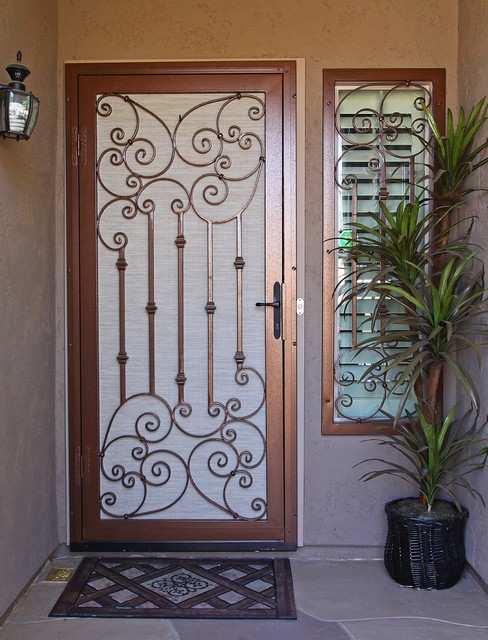 Traditional Scroll Security Screen Door by First Impression Security Doors - Mediterranean ...
