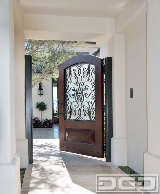Mediterranean Garden Gates in Wood & Wrought Iron Design with Rain Glass Pane - Mediterranean ...
