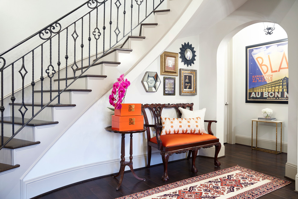 Mid-sized transitional dark wood floor foyer photo in Houston with white walls