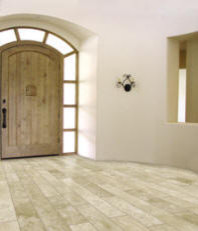 Mexican Travertine Planks tropical entry