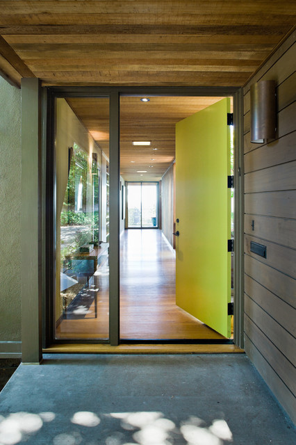Large Minimalist Concrete Floor Entryway Photo In San Francisco With A Green Front Door And Brown