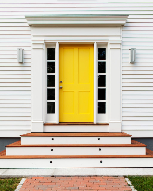 Entryway Transitional Idea In Boston With A Yellow Front Door