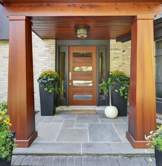 Inspiration For A Mid Sized Contemporary Slate Floor And Gray Entryway Remodel In Milwaukee