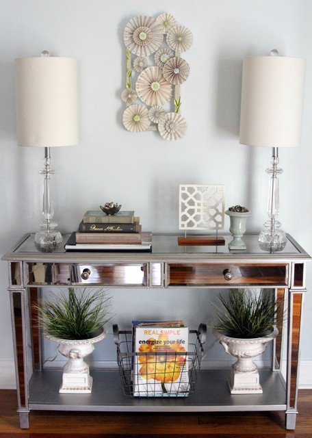 Mirrored console table eclectic entry other metro for Console table decor ideas