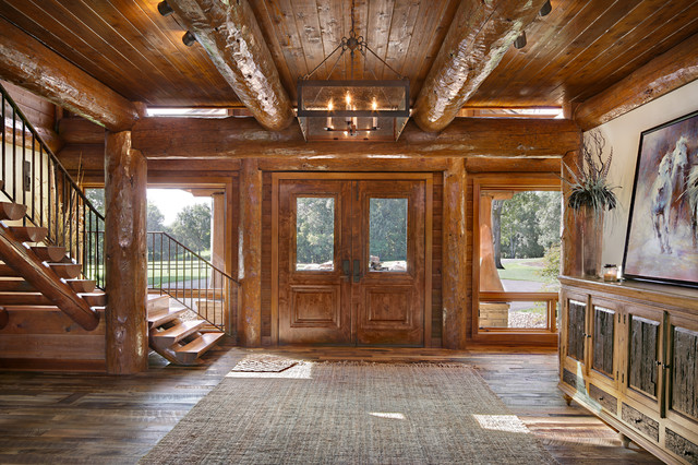 Log Home Foyer : Modern day log cabin the bowling green residence