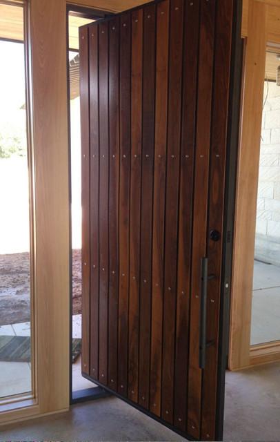 Modern Pivot Iron And Wood Door Modern Entry