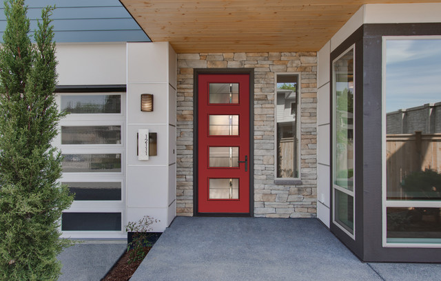 Modern Red Front Door Therma Tru New Pulse Collections 2015