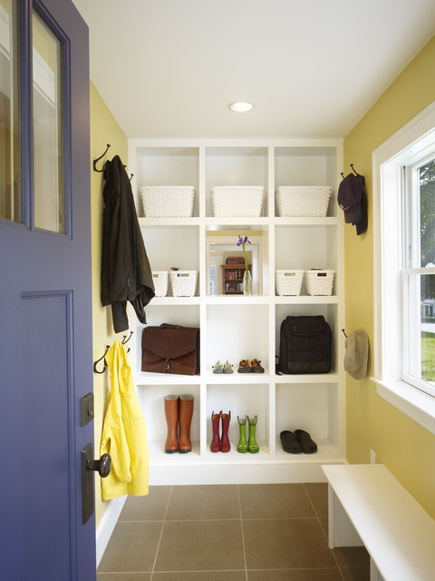 Trendy mudroom photo in Boston with yellow walls