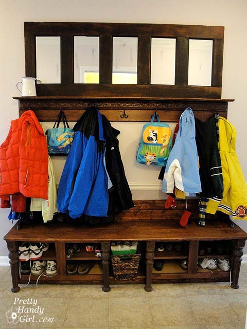 Mudroom Bench and Coat Rack entry