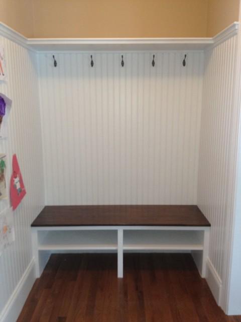 Mudroom Entry Shelf Built In Seat beadboard Wainscot