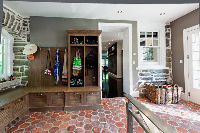 Trendy Terra Cotta Floor Mudroom Photo In Philadelphia With Gray Walls