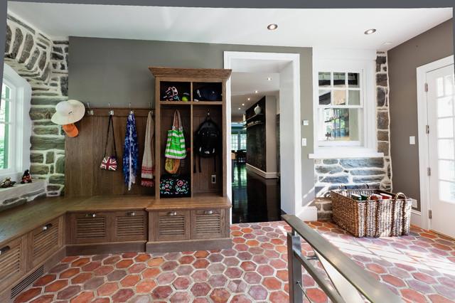 Mudroom French Tile Floor Built In White Oak Cabinetscontemporary Entry Philadelphia