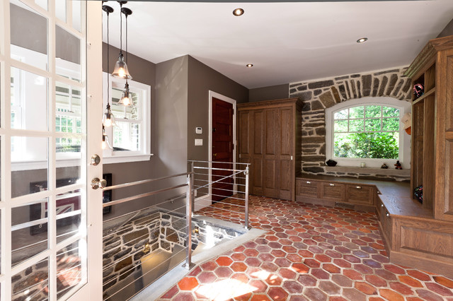 Mudroom French Tile Floor Built In White Oak Cabinets