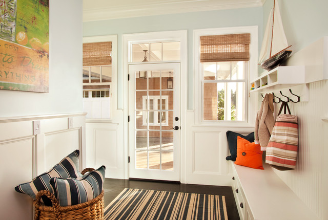 Mudroom beach style entry portland by garrison for Farmhouse plans with mudroom