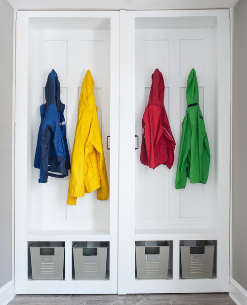 Mudroom/laundry room/office/closet- A place for everything! These lockers open