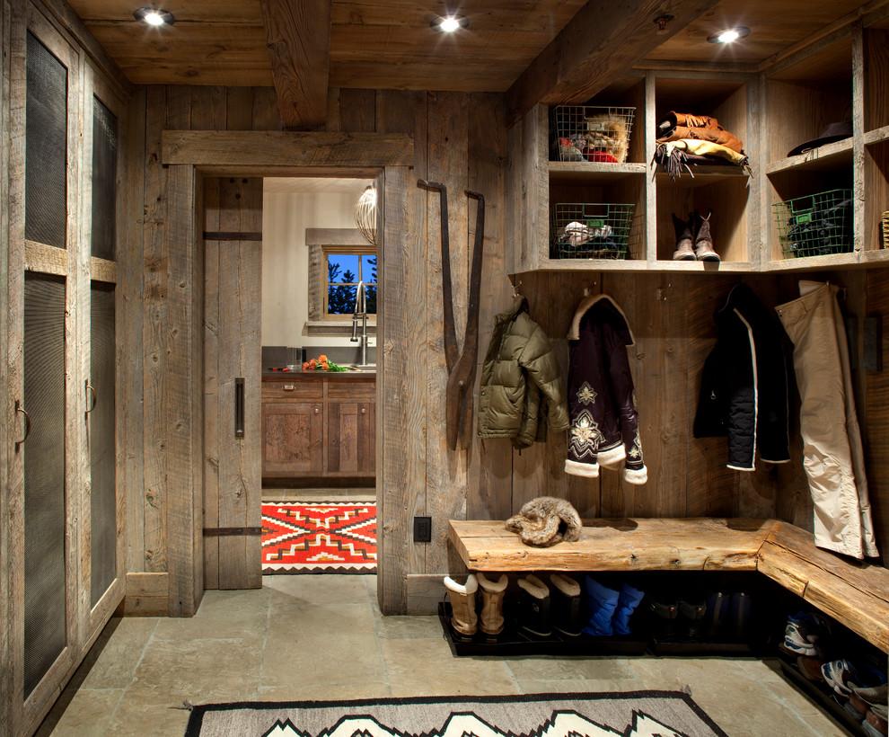 Inspiration for a rustic entryway remodel in Atlanta