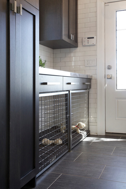 Side Entrance with Built in Dog Bed and Crate - Contemporary Interior Renovation - Contemporary ...