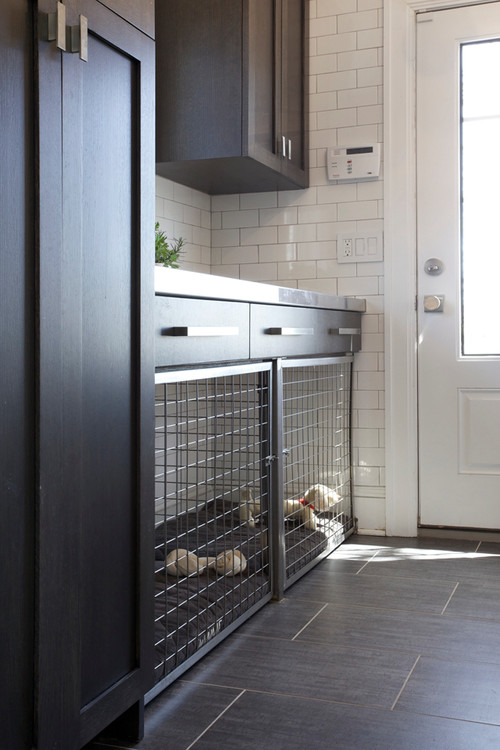 Side Entrance with Built in Dog Bed and Crate - Contemporary Interior Renovation