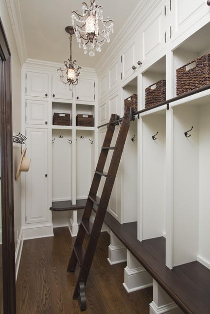Mudroom with Library Ladder traditional entry