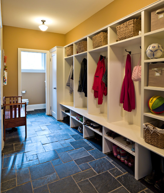 Mudroom with slate floor traditional entry ottawa for Mudroom floor