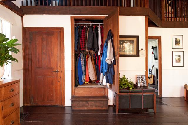 Inspiration For A Farmhouse Dark Wood Floor Entryway Remodel In Boston