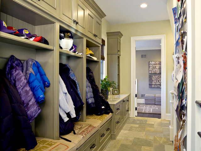 French Country Custom Built Mud Room Traditional