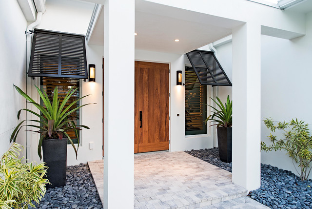 Naples Beach Coastal Retreat Front Door Tropical Entry