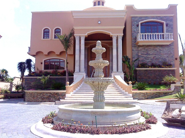 Natural Stone Tuscan Columns, Balustrade and Colonial Water Feature tropical-entry
