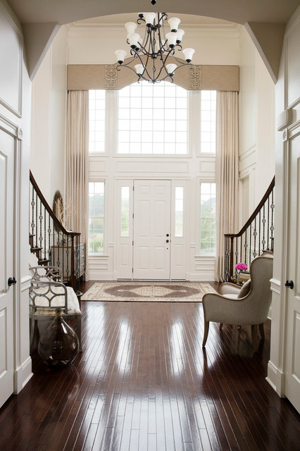 Houzz Two Story Foyer : Nature inspired two story foyer cornice with drapery