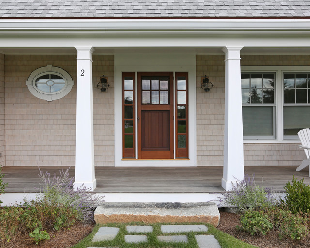 Front Door Columns Part - 50: Inspiration For A Beach Style Single Front Door Remodel In Boston