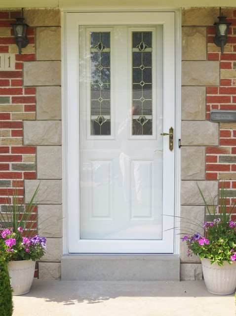 New Front Entry Door With New Storm Door Traditional Entry St Louis By Masonry Amp Glass