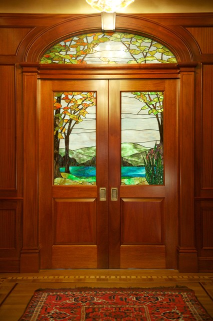 New Jersey Residence Mahogany Pocket Doors with art glass traditional-entry