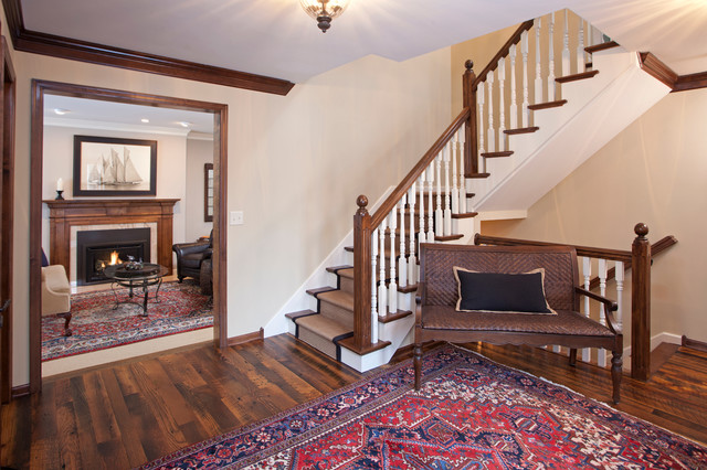 Large Elegant Dark Wood Floor Entryway Photo In Minneapolis With Beige Walls