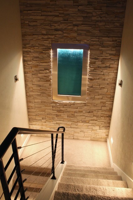 Northwest Contemporary Waterfall Feature wall + dry stack ledgestone modern entry