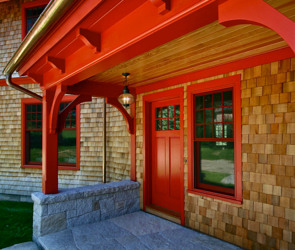Inspiration for a craftsman single front door remodel in Boston with a red front door