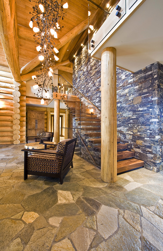 Inspiration for a rustic foyer remodel in Vancouver
