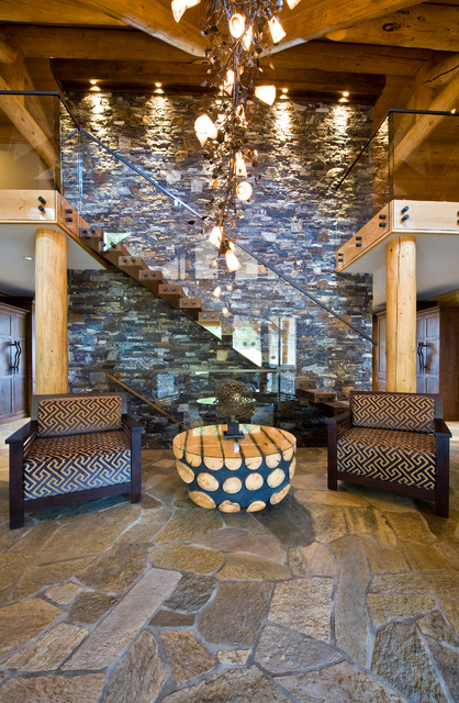 Foyer Lighting Calgary : Okanagan log home rustic entry calgary by sticks