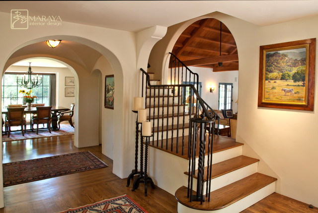 Old California Mission Style Staircase Foyer Mediterranean Entry