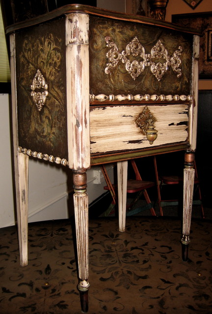 old sewing table. refurbished, embellished, and handpainted