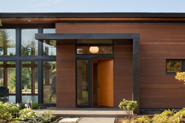 Genial Minimalist Single Front Door Photo In Seattle With A Medium Wood Front Door