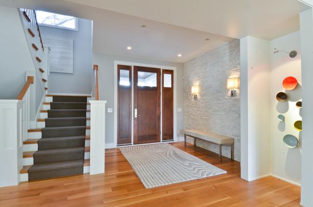 Contemporary Entryway Idea In Minneapolis With Gray Walls And A Dark Wood  Front Door